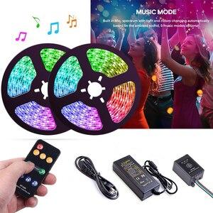 Image 1 - 5 20m Muziek controle LED Strip set Droom kleur WS2811 LED Strip 5050 RGB SP106E Muziek controller RF afstandsbediening, 12V Adapter voor Party