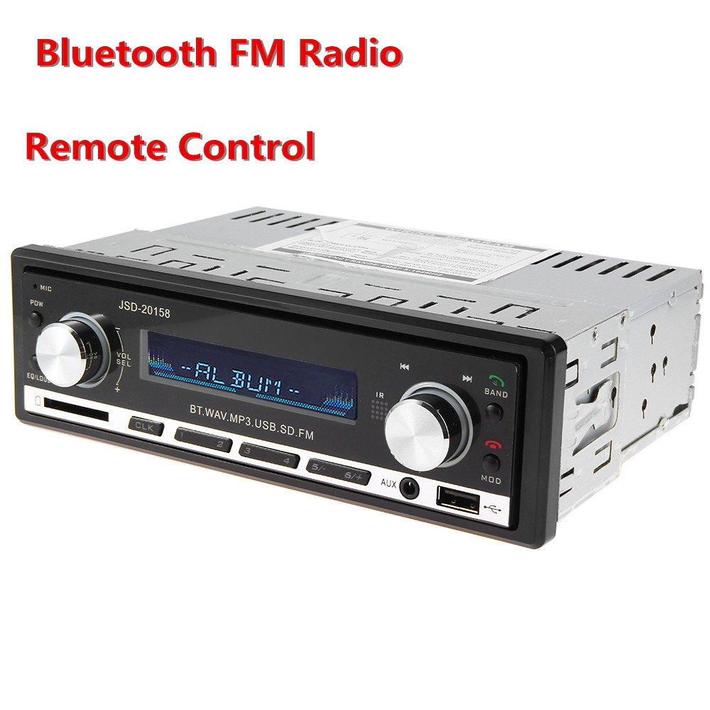 JSD - 20158 12V Bluetooth Car Audio Stereo MP3 Player FM Radio In-dash Support Hands-free USB AUX Input with Remote Control