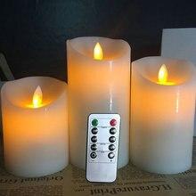 12,5-15-18 см(H) Мерцающий беспламенный столб светодиодный пульт дистанционного управления свечи с таймером движущийся танцующий фитиль расплавленный Край Свадебные Рождественские Вечерние