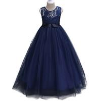 4 14 Year Christmas Kids Girls Wedding Lace Long Girl Dress Elegant Princess Party Pageant Formal
