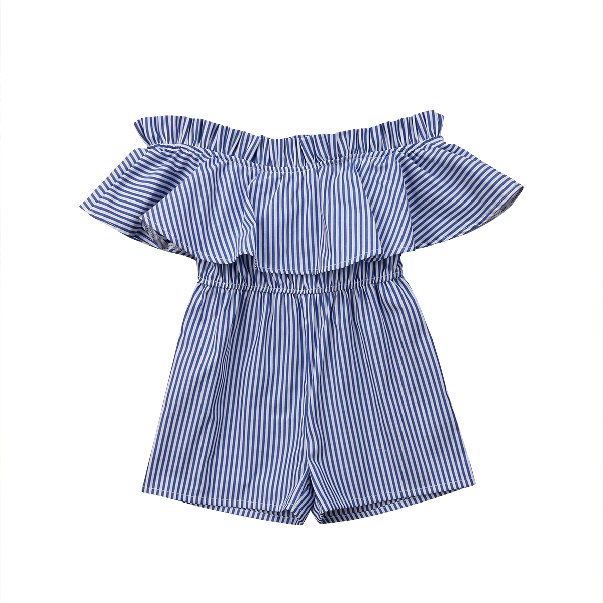2018 Newborn Cute Infant Baby Girl Fashion Summer Blue Off Shouler Striped Ruffles Romper Jumpsuit Outfit Clothes 6M-5T