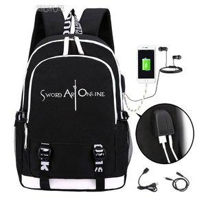 Image 4 - Spada Arte Online zaino 2019 Trendy usb del computer portatile del sacchetto di scuola per adolescenti bookbag Kirito cosplay Oxford Zaini di viaggio