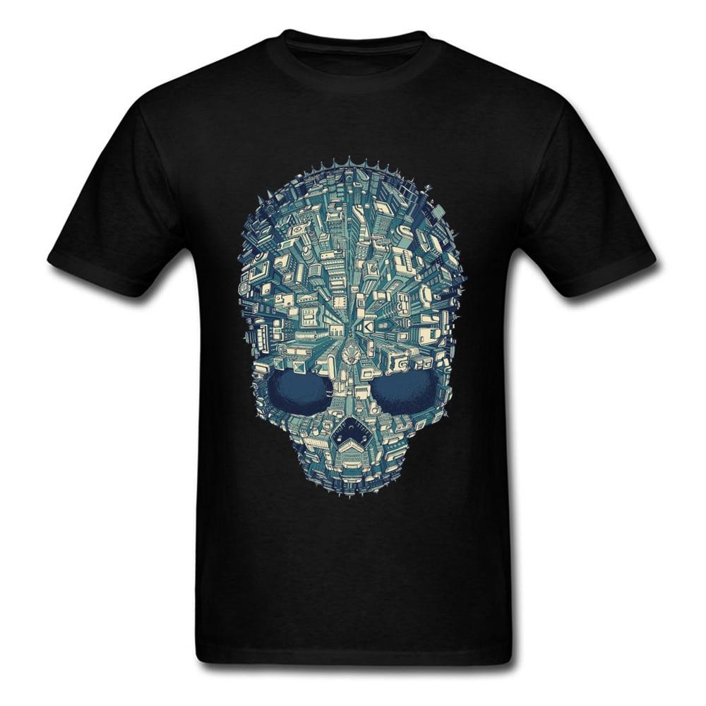 New York City Skull Black Mens T Shirt Novelty 3D Skull Head Geek Tshirt For Handsome Men's Summer Short Cotton T-Shirt Skull