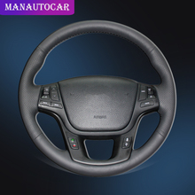 Car Braid On The Steering Wheel Cover for Kia Sorento 2009-2014 K7 Cadenza 2011-2015 Auto Wheel Covers Interior Accessories hand stitched black leather steering wheel cover for kia sorento 2009 2014