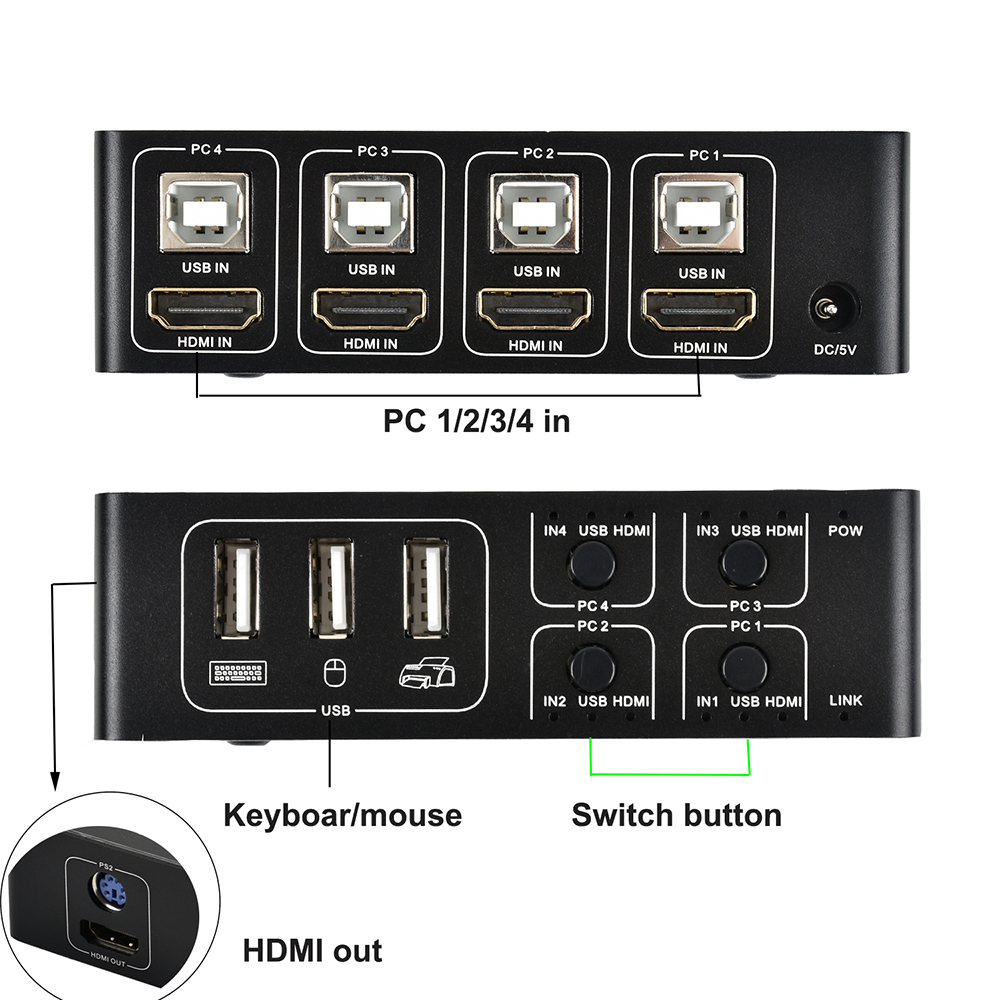 4 port HDMI KVM Switch 4K USB HDMI KVM Switcher 4 in 1 out Hot key 4KX2K/30HZ win10/8/mac os. PC laptop