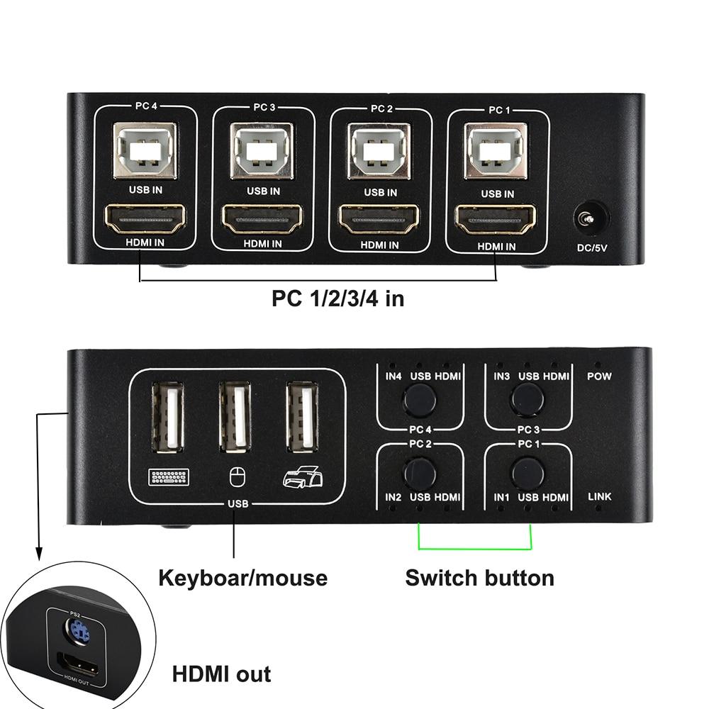 Commutateur 4 ports HDMI KVM commutateur 4K USB HDMI KVM 4 en 1 touche chaude 4K X 2 K/30 HZ win10/8/mac os. PC portable - 3