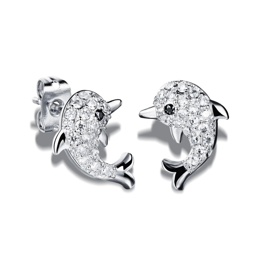 Us 8 83 32 Off Small Dolphin S Earrings Yellow White Gold Filled Full Zircon Animal Stud For Childrens Kids Baby Lovely Xmas Gif In