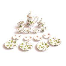 Новинка 15 шт 1/12 кукольный домик Миниатюрный чайный набор зеленые цветы модель блюда чашки тарелки кастрюли набор блюдец