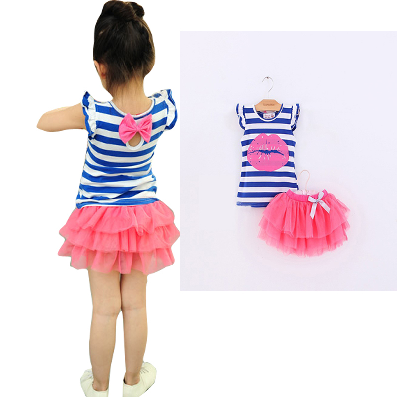 Girls Sets New Style Summer Leisure Stripe T-Shirt + Skirt Set  Baby Girls Clothes Kids Clothing 2-6 T family fashion summer tops 2015 clothers short sleeve t shirt stripe navy style shirt clothes for mother dad and children