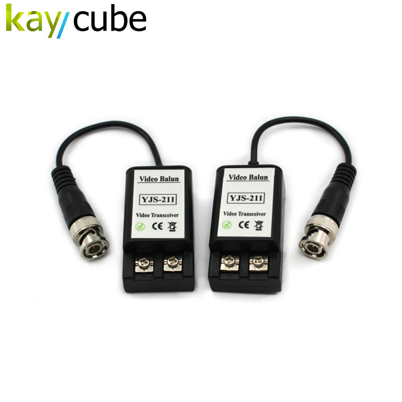 CCTV UTP Video Balun Transceiver with Effective distance 400-650M Single Channel Passive UTP Video Balun Transceiver kaycube single channel passive video balun grey silver 2 pcs