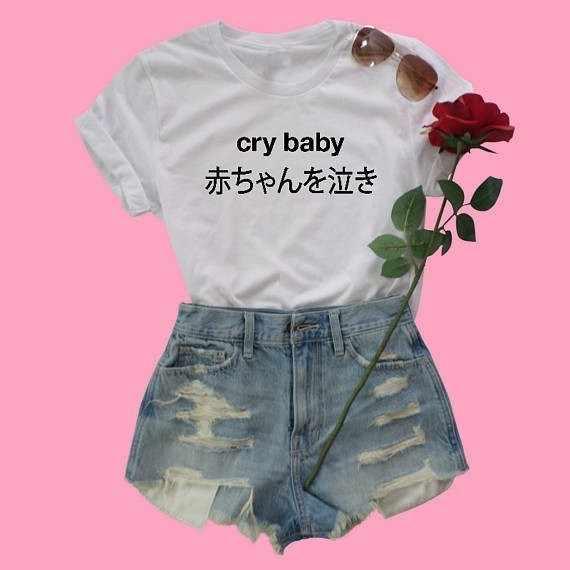 Crybaby japońska koszulka babygirl koszulka harajuku grunge estetyczny T-Shirt 90s moda damska topy złamane marzenia klub t shirt-J006