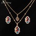 2017 hot moda cubic zirconia folha/bloqueio colar pingente brinco set jóias banhado a ouro declaração choker colar para mulheres