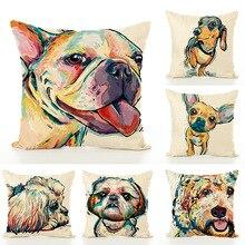 купить 14 Style Cute Dog Animals Printed Cushion Cover Throw Pillowcase Car Bed Sofa Pillow Cover Outdoor Chair Waist Cushions Case дешево