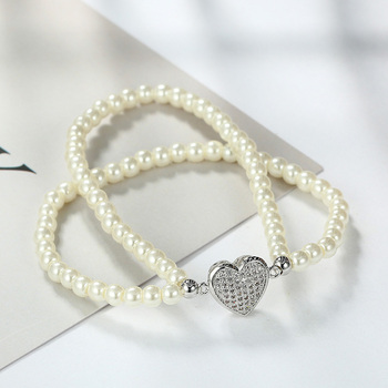 Meaeguet Flexible Beads Bracelet For Women Double Chain Simulated Pearl With Cubic Zircon Heart Wedding Jewelry chain