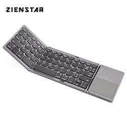 Zienstar AZERTY francuska składana bezprzewodowa klawiatura Bluetooth z Ttouchpad na ipada/iphone'a/macbooka/komputer stancjonarny/tablet z androidem