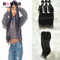 BQ Hair 8A Remy Brazilian Straight Wave Virgin Hair Lace Closure with 3 Bundles  3+1  Free Shipping Tissage Bresilienne Peruk