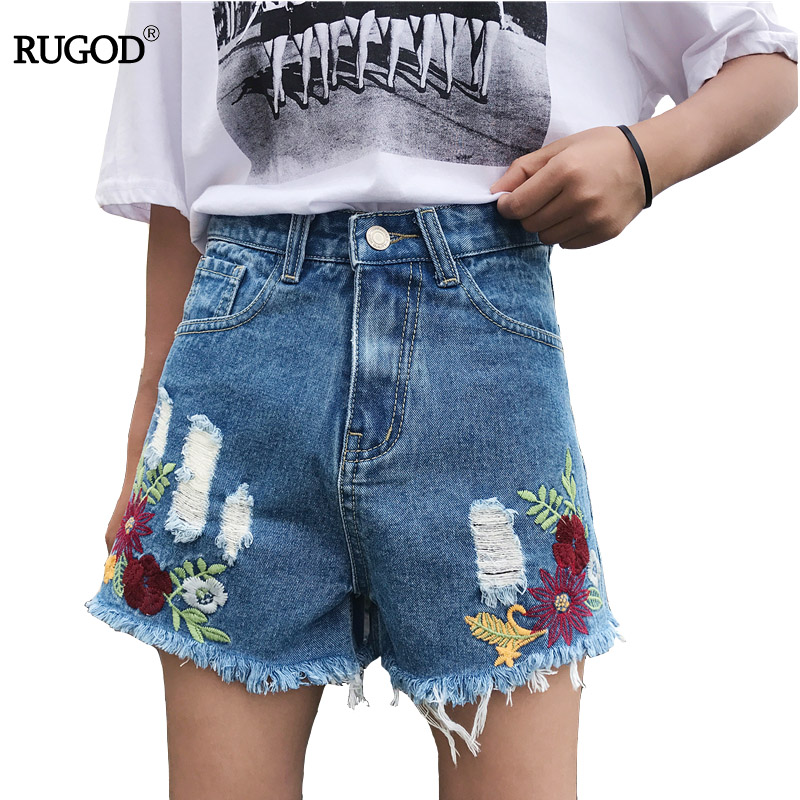 RUGOD 2017 Vintage Flower Embroidery Shorts Women Casual Loose Ripped Short Jeans Feminino Hole Ripped High Waist Denim Shorts