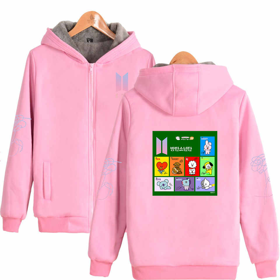 31c7943cb9 ... BTS BT21 Kpop winter thicken warm Hoodies women men BTS V Same fleece Hoodie  Sweatshirt fashion ...