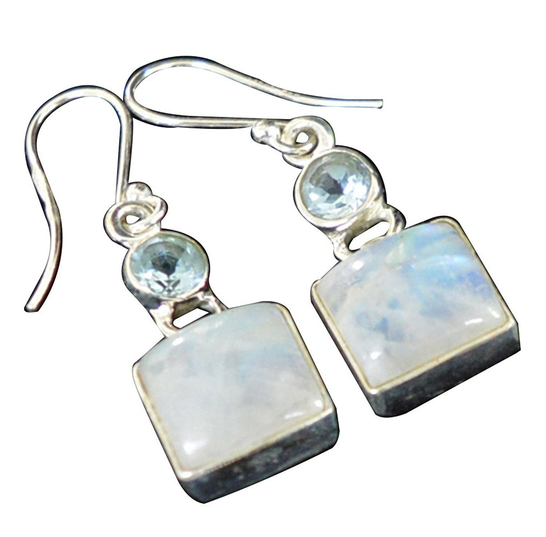 Lovegem Genuine Rainbow Moonstone EARRINGS 925 Sterling Silver, 37 mm, AE1996Lovegem Genuine Rainbow Moonstone EARRINGS 925 Sterling Silver, 37 mm, AE1996