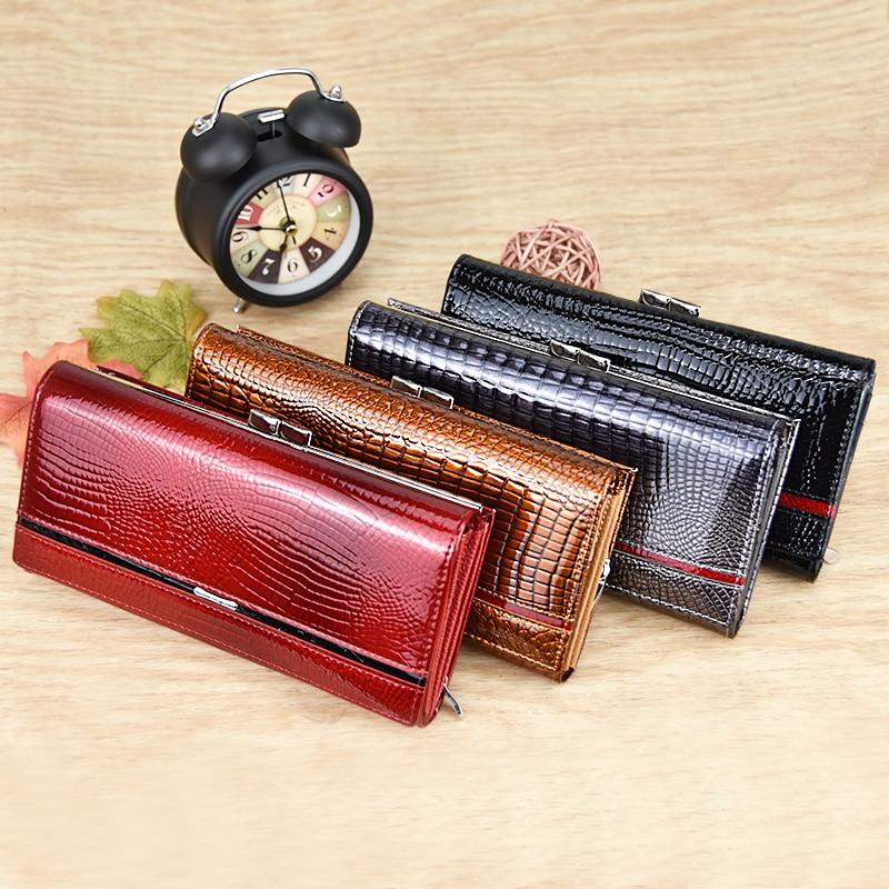 DICIHAYA Brand Genuine Leather Women Wallets Crocodile Print Long Hasp Zipper Wallet Ladies Clutch Bag Purse Female Luxury 2019