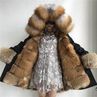 Women Winter Real Fox Fur Coat Ladies Natural Fur Parka Genuine Fox Fur Lining Garment Big Red Fox Fur Collar Hood Jacket Coat