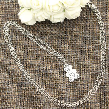 New Fashion Double Sided Flower Bear Pendants Round Cross Chain Short Long Mens Womens DIY Silver Color Necklace Jewelry Gift 4