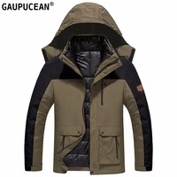 Men Winter Coat Cotton padded Two in one Hat Liner Detachable Warm Male Hooded Zipper Pocket Khaki Blue Cotton Padded Man Jacket