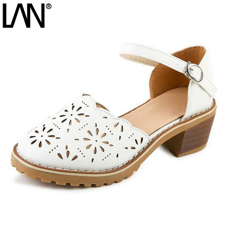 LANSHULAN New 2017 Round Toe Summer Woman Sandals Platform Women Shoes Hollow Out Casual Faux Leather Buckle Strap Square Heel xiaying smile summer new woman sandals platform women pumps buckle strap high square heel fashion casual flock lady women shoes