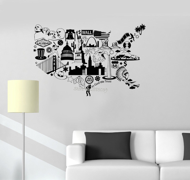art interesting usa map wall decals vinyl united states symbol living room decor wall stickers sofa