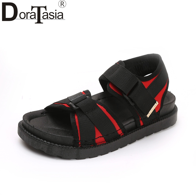 DoraTasia hook&loop fashion leisure summer sandals mixed colors sneakers shoes women flat heels comfortable woman shoes
