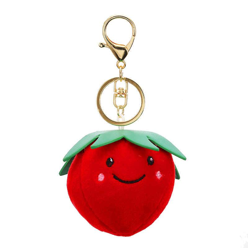 2019 Nova Venda Quente de morango Abacaxi Frutas Vegetais Keychain Casal Chaveiro de Pelúcia Saco Carro Pingente de Presente Da Jóia