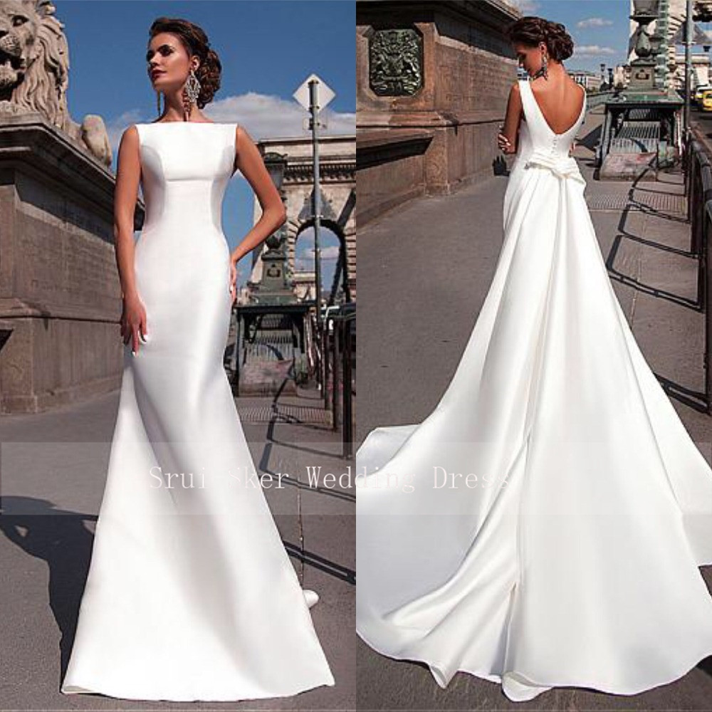 Charming Satin Bateau Neckline Mermaid Wedding Dresses With Detachable Train Custom Made Bridal Gowns Cheap