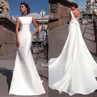 Charming Satin Bateau Neckline Mermaid Wedding Dresses With Detachable Train Custom Made Bridal Gowns Cheap