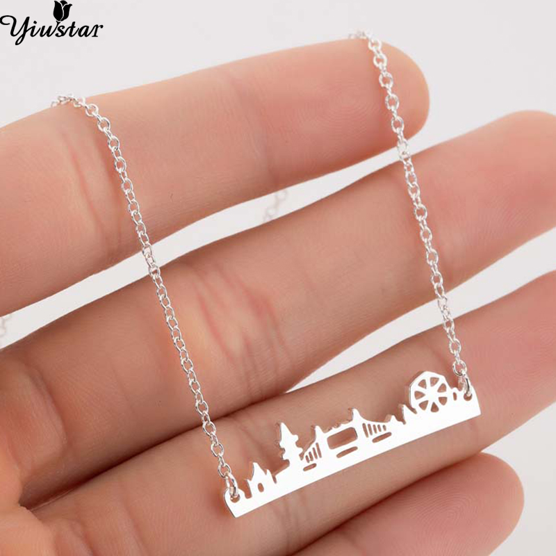 Yiustar Europe and America Bridge Skyline Pendant Necklace Women Stainless Steel Mine City Necklaces kettingen voor vrouwen Gift image