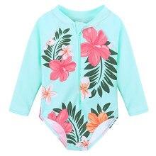 b5d9412744 Baby Girls One Pieces Swimwear Cyan Flower Baby Kids UV UPF 50+ Swimming  suit Children Long Sleeves Bikini Bathing Swimwear