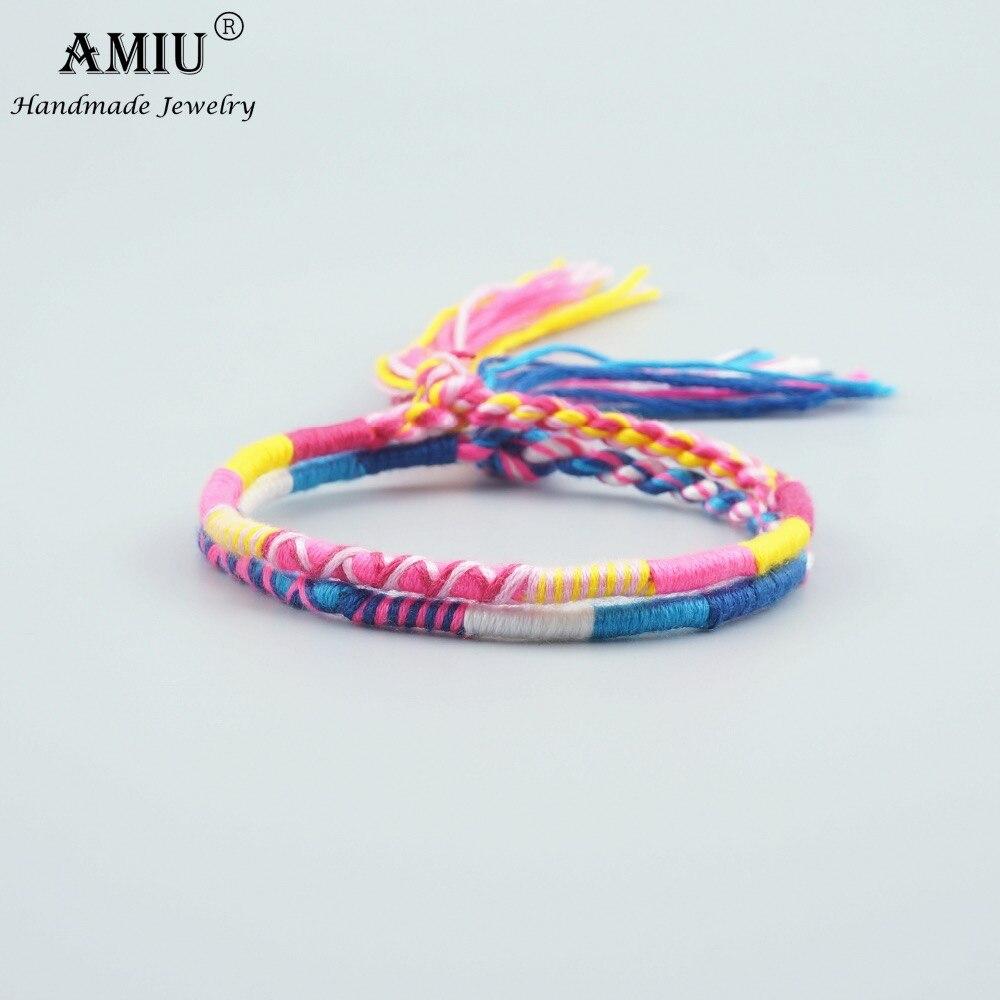 AMIU Jewelry Cotton Friendship Bracelets Anklet Bracelets Bohemia Style Weave Woven String Handmade Bracelet For Women and Men