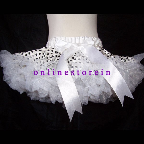 Free shipping  black polka dot white girl skirts girls pettiskirts baby skirts toddler tutu
