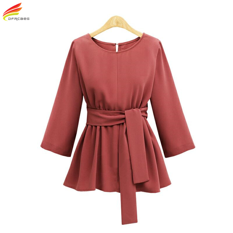 Plus Size 5XL Womens Tops And Blouses 2018 Black Red Color Blouse Femme With Belt Chiffon Shirt Top Big Size Woman Clothes