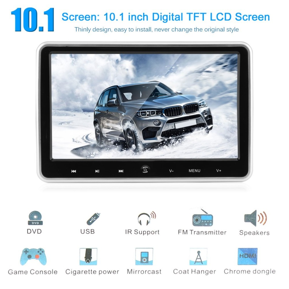 10.1 Inch LCD Digital Screen Headrest Monitor Universal Car Headrest DVD Player Portable HDMI Media Player Vehicle Parts for Car 9 inch tft lcd digital touch screen car headrest dvd player multimedia player monitor 1 pcs
