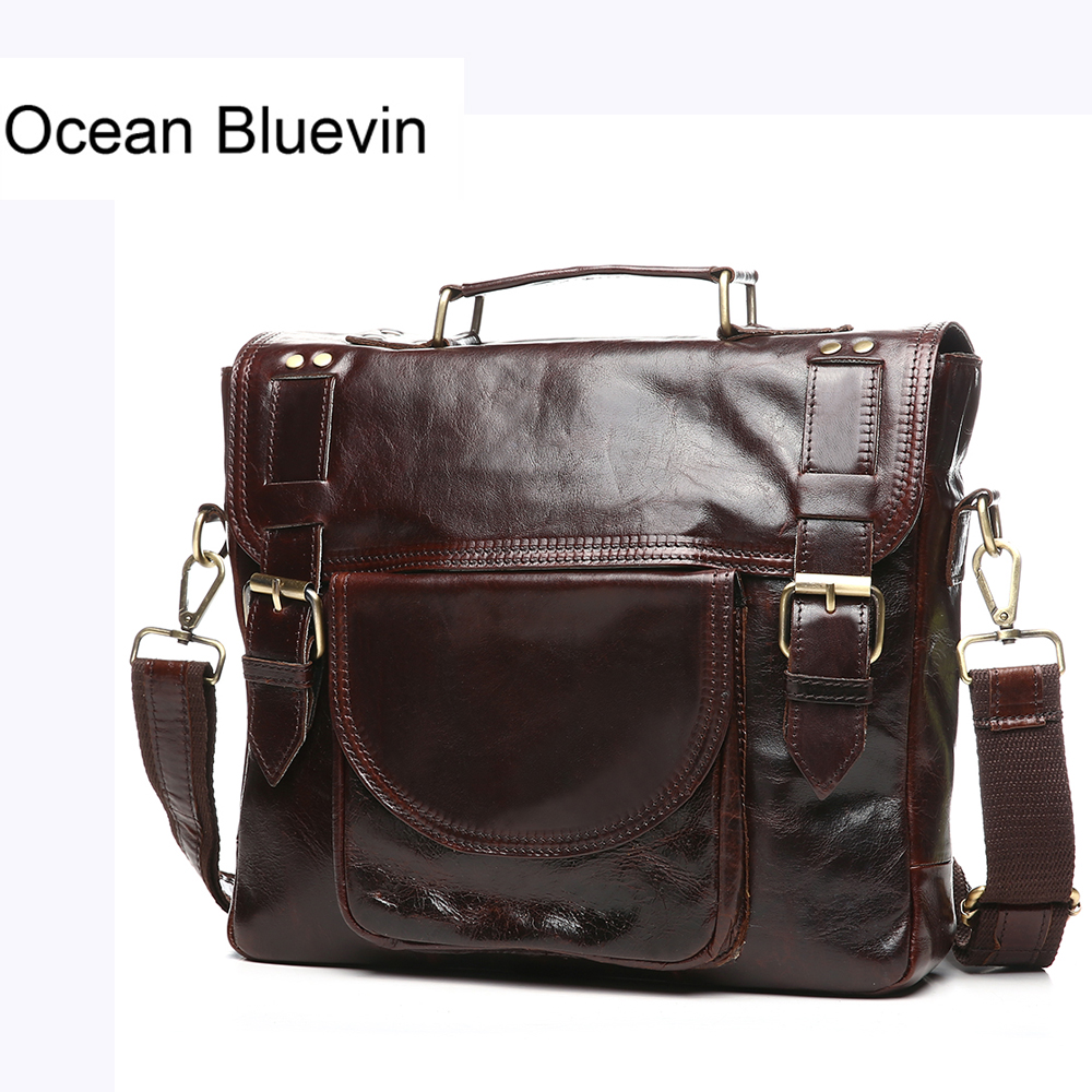OCEAN BLUEVIN New Genuine Leather Man Messenger Crossbody Bag Vintage Cowhide Leather Shoulder Bag Business Briefcase Handbag