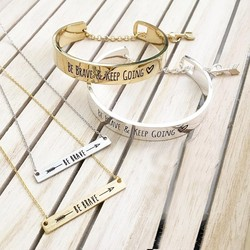 New Arrival Be Brave and Keep Going Message Bracelet Engraved Cuff Fashion Bracelet S3-0167