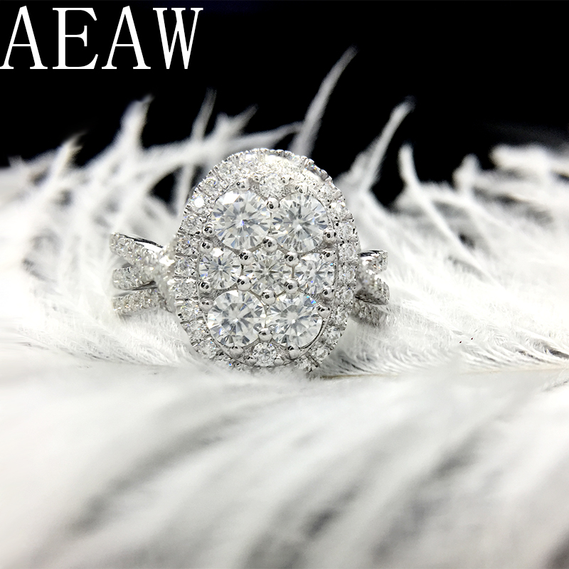 AEAW sólido 10 K oro blanco Centro 1.5ctw Color F anillo de compromiso de novia con Moissanite acento 2 piezas para las mujeres