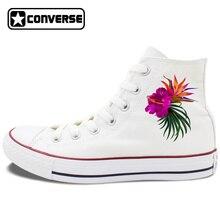 Hibiscus Flowers Design Classic Converse Shoes Women Canvas Sneakers Blossom Floral Shoe Watercolor Summer Garden