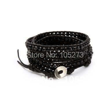 Nouveau Arriver bijoux de noël! Joli Bracelet en cristal noir de 4 MM sur cuir naturel 32-34 pouces en gros nouvelle livraison gratuite