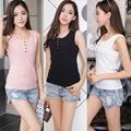 2016 Verão T-shirt Das Mulheres Tops Sem Mangas Moda O-pescoço Plus Size Camiseta Feminina T-shirt 3 Cores Tamanho Grande Camisetas