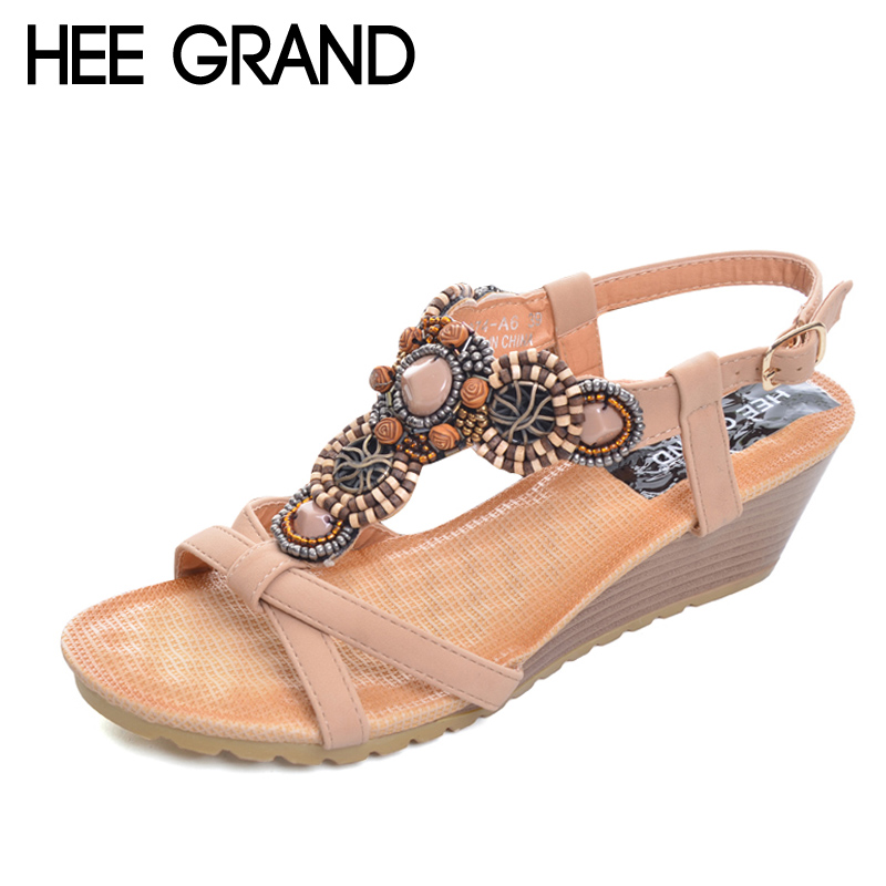 HEE GRAND 2017 Platform Gladiator Sandals Beach Beaded Wedges Sandals Casual Platform Shoes Woman Slip On Creepers XWZ3466 lanshulan wedges gladiator sandals 2017 summer peep toe platform slippers casual glitters shoes woman slip on flats creepers
