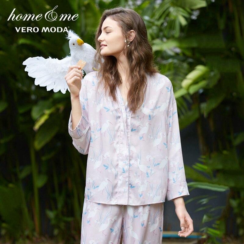 Vero moda Simulados das Mulheres Único Breasted Lapela Impressão Camisa do Pijama   3181P9505