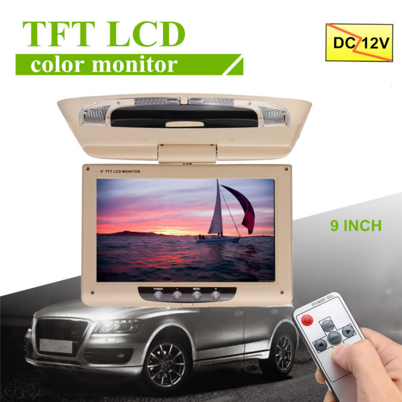 9 Inch TFT LCD Digital Screen Car Roof Mounted Display Monitor with Remote Controller Car Ceiling Flip Down DVD CD Player-in Car Monitors from Automobiles & Motorcycles