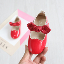 Kid Girl Party Shoe PU Patent Leather Princess Sneakers Fashion Bowknot 2019 Spr