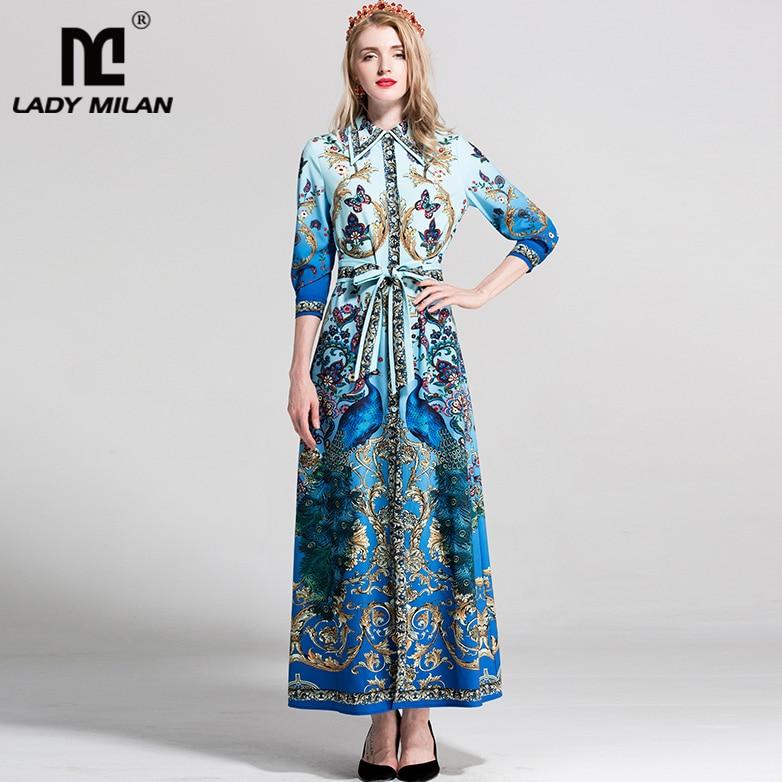 2018 Womens Turn Down Collar 3/4 Sleeves Printed Floral Sash Belt Sexy Split Fashion Long Casual Designer Runway Dresses